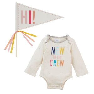 New To The Crew Crawler & Pennant - Pink : Mud Pie Baby