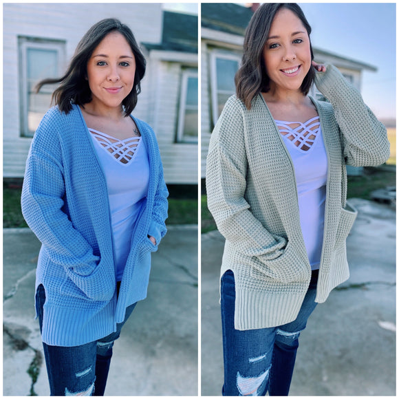 Waffle Knit Cardigan: 2 Colors