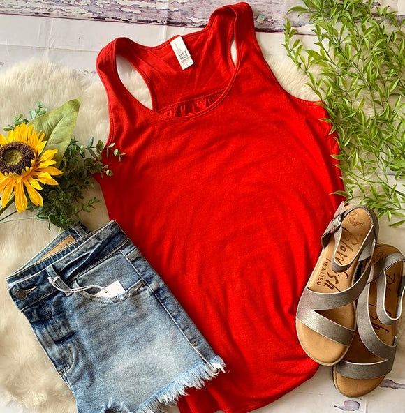 Gathered Back Tank : Red