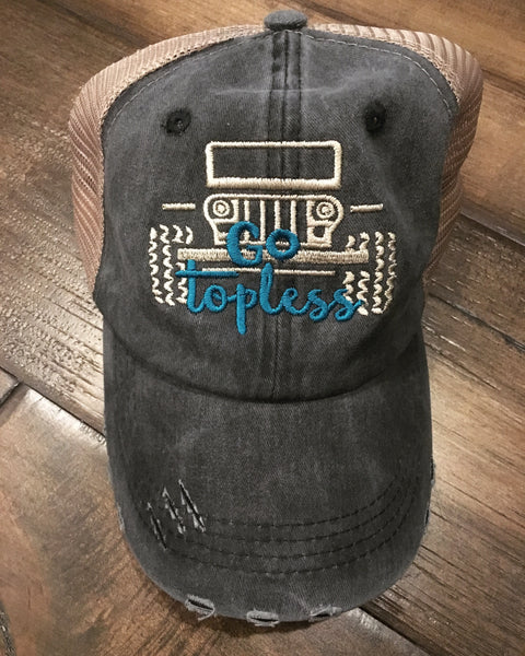 Go Topless trucker hat : teal