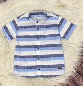 Mayoral : infant blue multi strip shirt