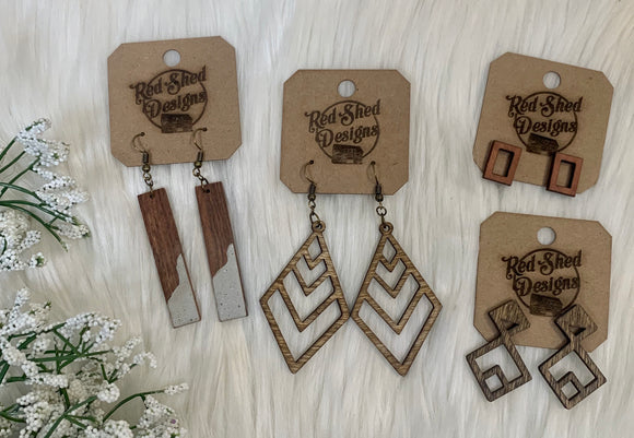 Wood Earrings- 4 Styles