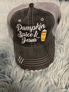 Trucker Hat : Pumpkin Spice and Jesus