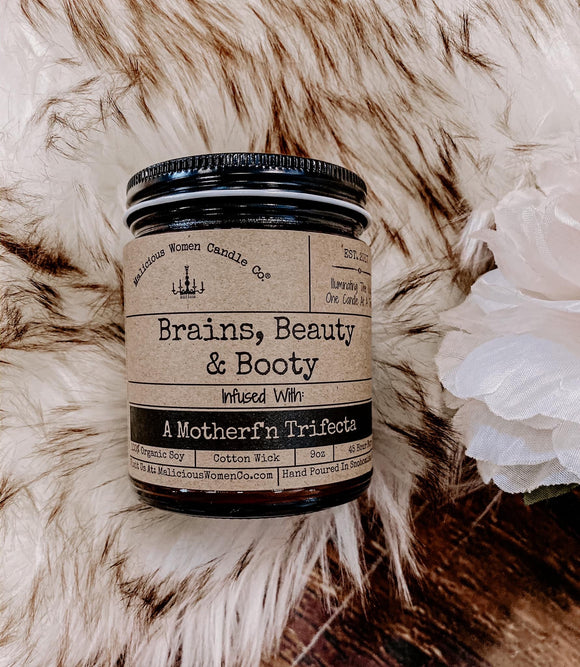 Brains, Beauty, & Booty Candle