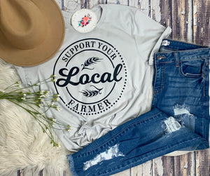 Support Your Local Farmer Tee : Grey