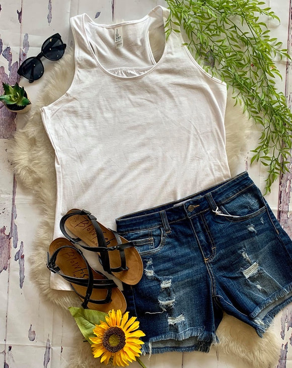 Gathered Back Tank : White