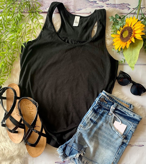 Gathered Back Tank : Black