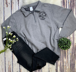 Support Your Local Farmer 1/4 Zip : Dark Grey
