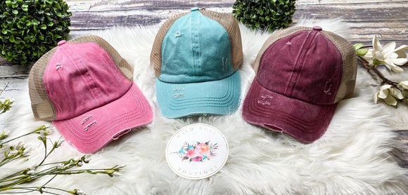Lattice Back Hats: 3 Colors