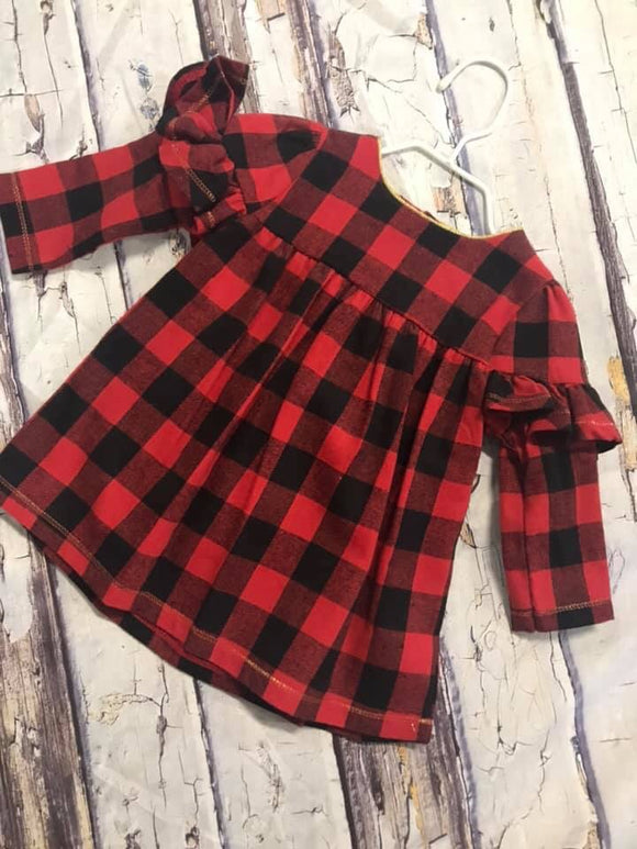 Buffalo plaid dress 3/6 6/9