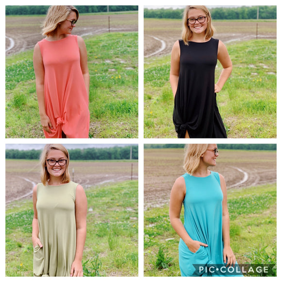 Sleeveless Flared Dress: 4 Colors- MISSY & CURVY