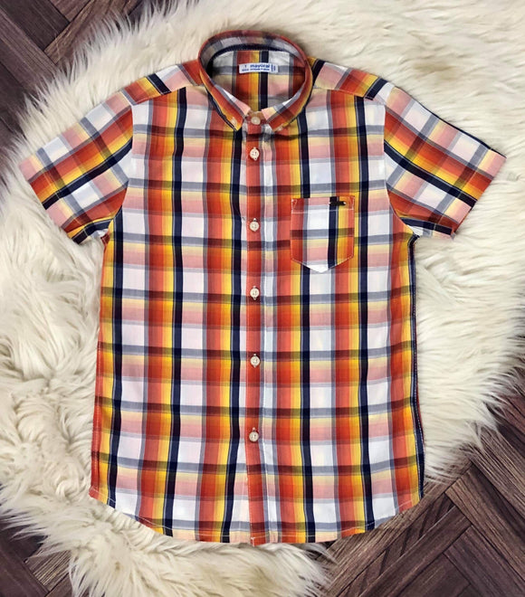 Mayoral mustard/rust plaid shirt