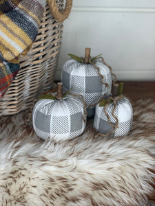 Grey & White Fabric Pumpkins- 3 sizes