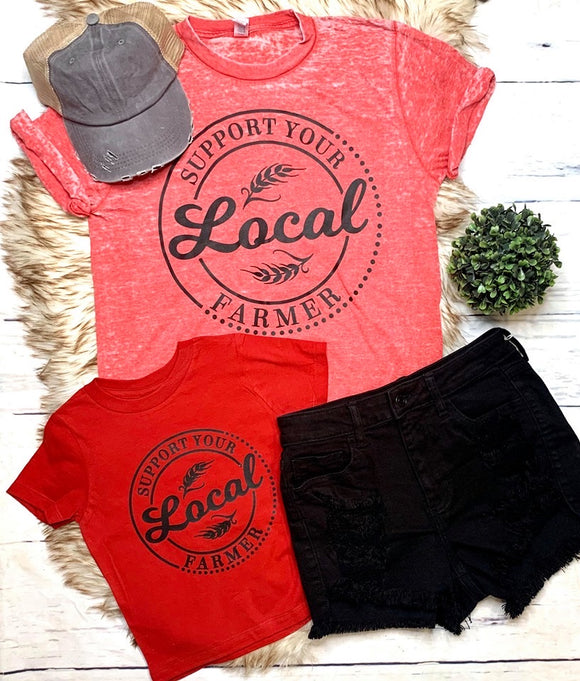 Support Your Local Farmer Tees : Red