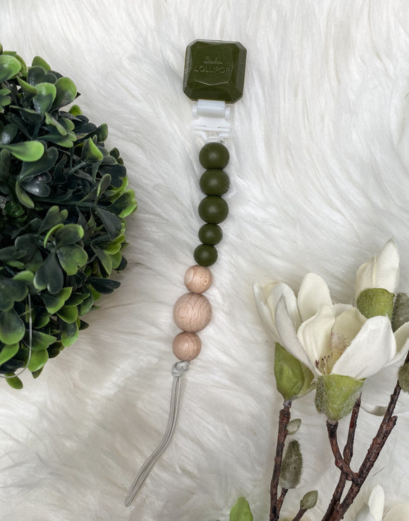 LouLou Lollipop Pacifier Clip (DRK Green/Wood)
