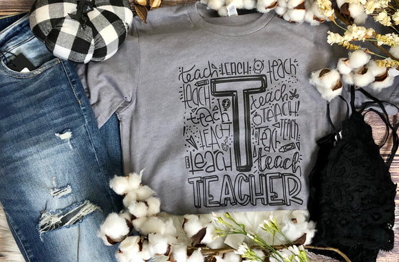 Teacher Tee Grey