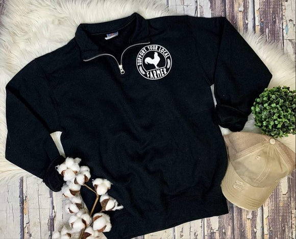 Support Your Local Farmer 1/4 Zip : Black