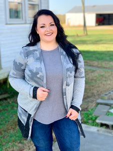 Curvy: Leave Me Be Camo Cardigan