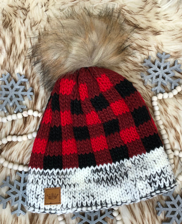 White/Red Buffalo Check Beanie