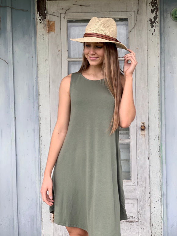 Scoop Neck Sleeveless Pocket Dress : 4 Colors
