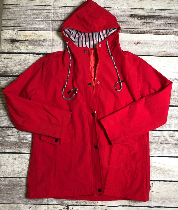 Red rain jacket preorder