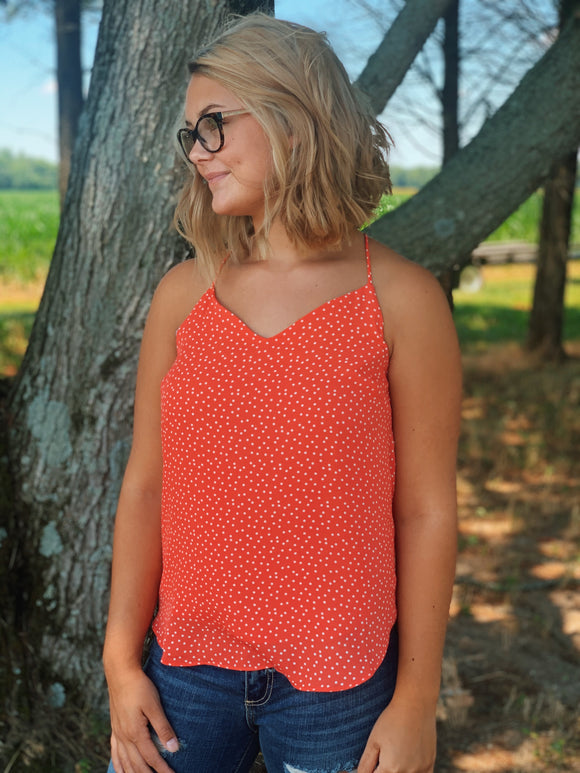 Polly Polka Dot Tank: Coral