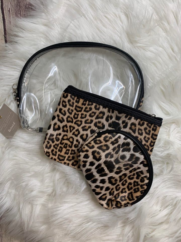 Leopard & Clear Pouch: Set of 3