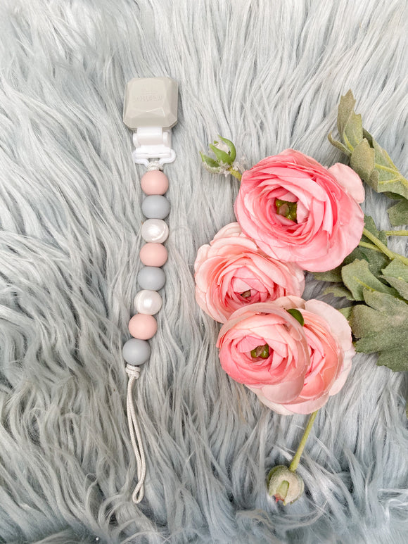 LouLou Lollipop Pacifier Clip (Blush/Grey)