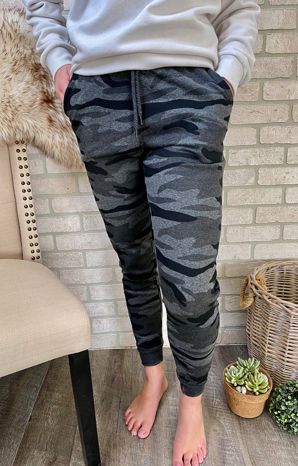 Wishing For The Weekend Joggers: Charcoal Camo