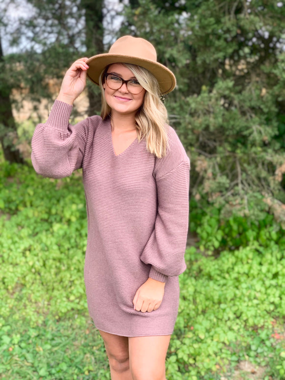 My Honey Puff Sleeve Sweater Dress