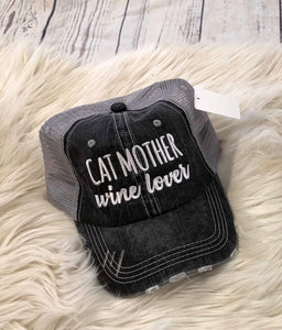 Trucker Hat : Cat Mother Wine Lover