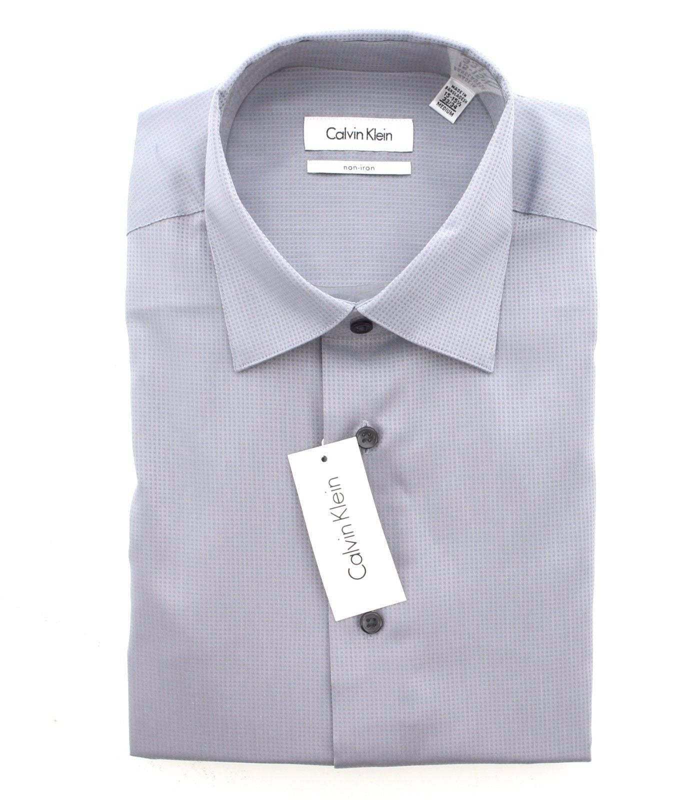 Calvin Klein CK Men's Non-Iron Dobby Long Sleeve Dress Shirt
