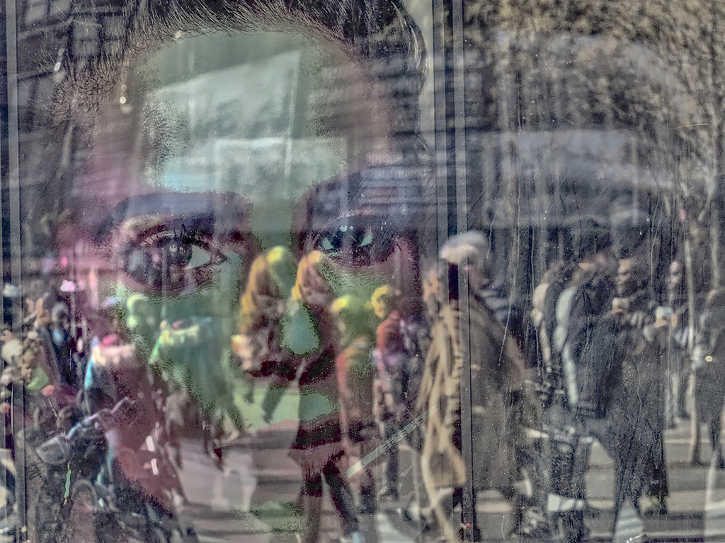 Ghostly Reflection In Crowd