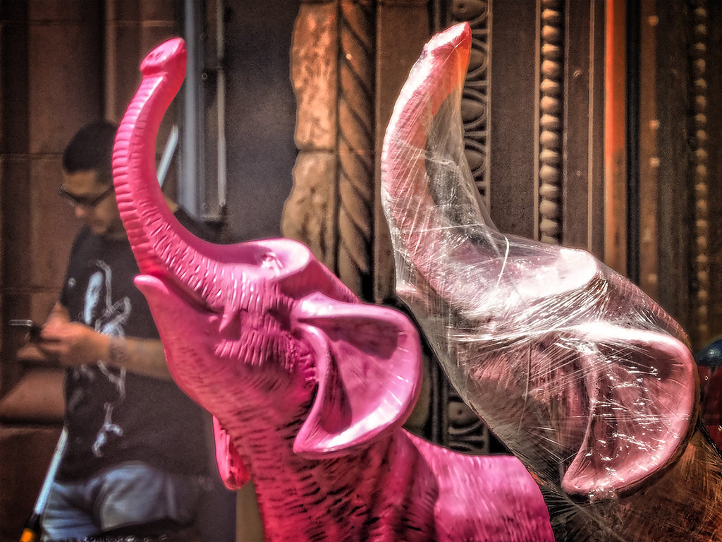 Plastic Covered Pink Elephant