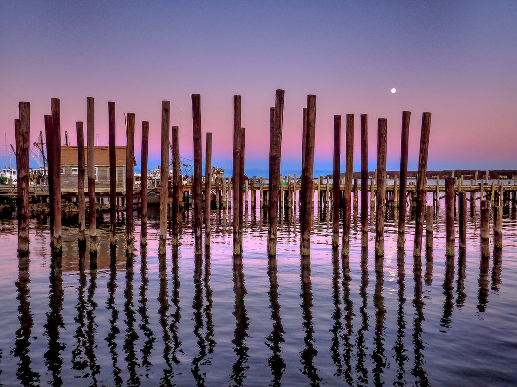 Pier Pilings And Moon