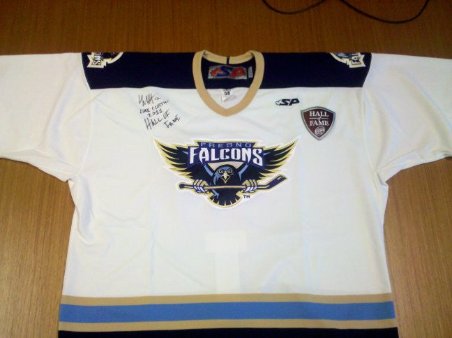 Authentic Fresno Falcons Jerseys – Autographed by Luke Curtin, 2011 ECHL Hall of Fame Inductee - White - Size 56