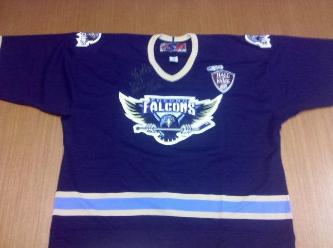 Authentic Fresno Falcons Jerseys – Autographed by Luke Curtin, 2011 ECHL Hall of Fame Inductee - Dark - Size 56