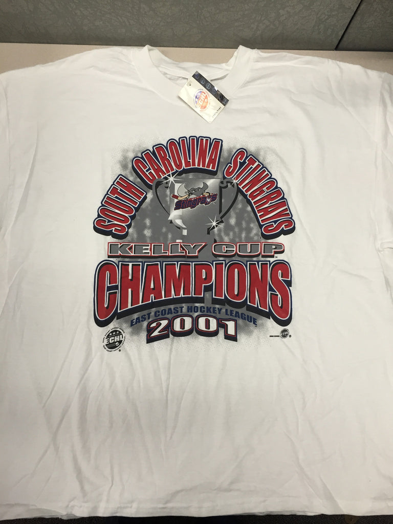 2001 Kelly Cup Champions T-Shirt - South Carolina Stingrays - Size XXL