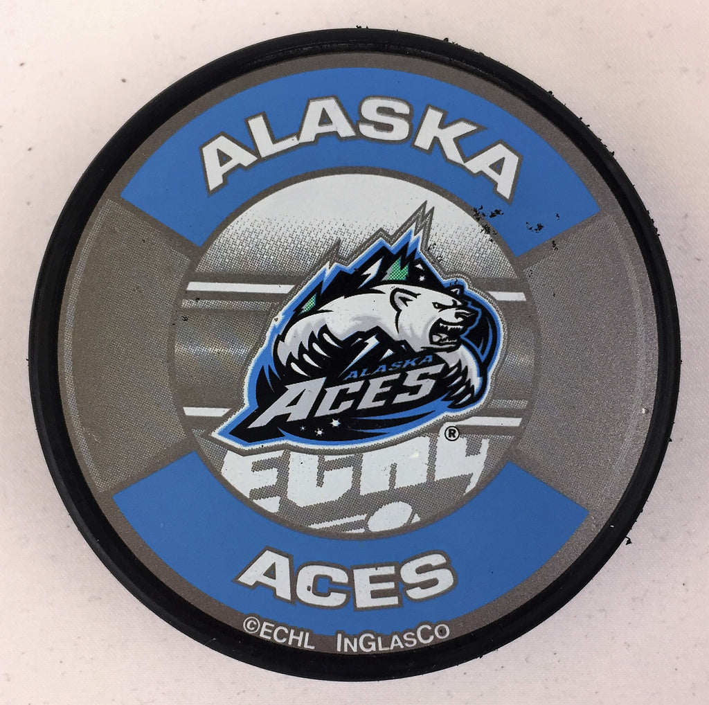 Alaska Aces Hockey Puck - Silver/Blue