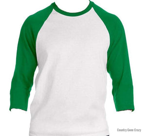 Tultex - Kelly Green Sleeves with White Body-Country Gone Crazy-Country Gone Crazy