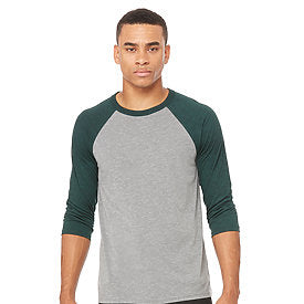 Bella Canvas - Grey Body with Emerald Triblend Sleeves-Country Gone Crazy-Country Gone Crazy