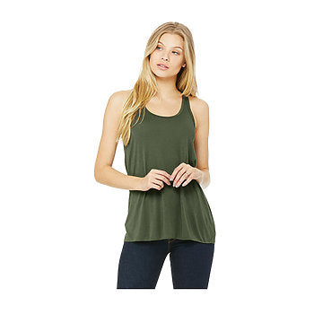 Bella Canvas Women's Flowy Racerback Tank - Military Green-Country Gone Crazy-Country Gone Crazy