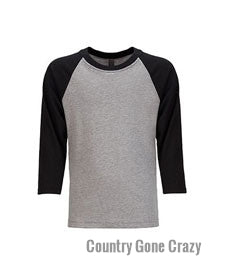 Next Level - Vintage Black Sleeves with Premium Heather White Body-Country Gone Crazy-Country Gone Crazy