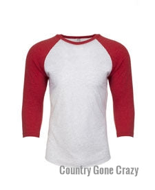 Next Level - Vintage Red Sleeves with Heather White Body-Country Gone Crazy-Country Gone Crazy