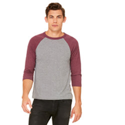 Bella Canvas - Grey Body with Maroon Triblend Sleeves-Country Gone Crazy-Country Gone Crazy