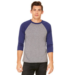 Bella Canvas - Grey Body with Navy Triblend Sleeves-Country Gone Crazy-Country Gone Crazy