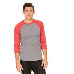 Bella Canvas - Grey Body with Red Triblend Sleeves-Country Gone Crazy-Country Gone Crazy