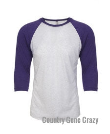 Next Level - Purple Rush Sleeves with Heather White Body-Country Gone Crazy-Country Gone Crazy