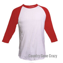 Tultex - Red Sleeves with White Body-Country Gone Crazy-Country Gone Crazy