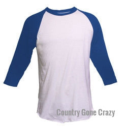 Tultex - Royal Blue Sleeves with White Body-Country Gone Crazy-Country Gone Crazy